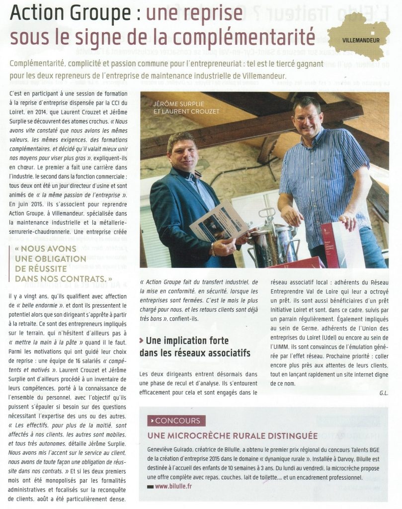 article presse reprise action groupe